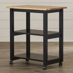 August Grove De Soto Kitchen Cart with Butcher Block Top & Reviews | Wayfair