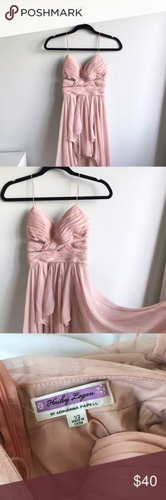 """Adrianna Papell chiffon high low gown / dress BEAUTIFUL baby pink high low dress by Adrianna Papell. This is chiffon material with intricate layers throughout the dress. Zipper back closure. Best fits a 0-2 or an XS/S and ❗️someone about 5'2""""❗️ as the front is short! Adrianna Papell Dresses High Low"""