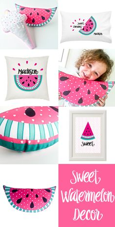 Bright fresh summery watermelon kids decor is a perfect addition to any girls bedroom