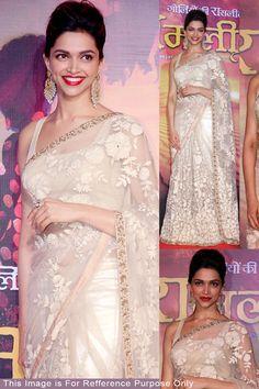 Buy Online Deepika Padukone Golden Ramleela Bollywood Replica Saree at Best Price in India.