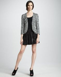 Sequined Jacket & Pleated Leather Miniskirt by Parker at Neiman Marcus.