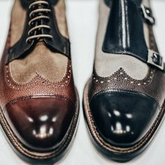 Multicolour patch brogues | Contrast toe tip | Lace up leather flats | Footwear / buckle