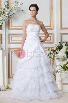 Aライン袖なし床長さウェディングドレス