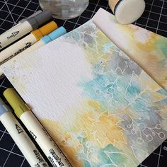 De-stressing with a favorite color combo: @tim_holtz Distress Inks in Broken China, Wild Honey, and Hickory Smoke with #wplus9 Botanical Bunch and Autumn Leaves stamp sets.