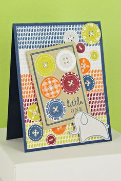 Buttoned Baby Card by Erin Lincoln for Papertrey Ink (November 2012)