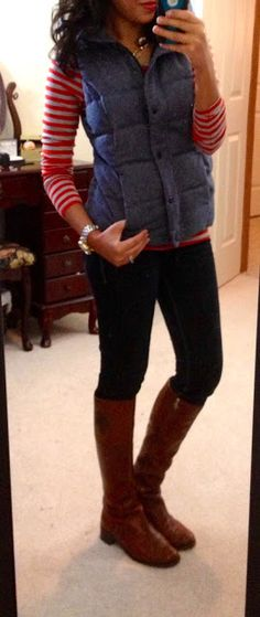 Old Navy Long-Sleeved Crew Neck, Old Navy Quilted Frost-Free Vest, Express Zelda skinny jeans, Etienne Aigner Costa boots, Banana Republic outlet necklace, NY watch