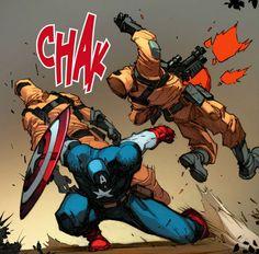 Captain America vs. A.I.M. soldiers by Joe Madureira