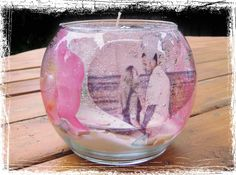 Gel Candle with Photograph & Wedding date inside (Great centerpiece with a…