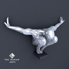 PDF à transformer en sculpture murale - Le papercraft 3D Human Sculpture, Sculptures, Transformers, Decorative Screen Panels, Modern Dance, Paper Models, Metallic Paint, Figurative Art, Interior Design