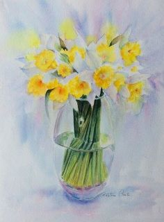 Watercolour  ​35 cm x 26 cm  A watercolour executed on artist Fine art paper Saunders Waterford. I picked this bunch of daffodils from my garden trying to be ahead of a nasty weather forecast that might damage them. This painting is for sale UNFRAMED. Most of my customers like to frame according to their taste.  Will be sent Flat pack with Certificate of Authenticity. Recorded delivery, First class, Insured