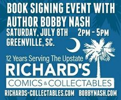 The Lo' There Shall Come A Con Tour 2017! tour grows again. Join me for an Author Signing Event on Saturday, July 8, 2017 at Richard's Comics and Collectables in Greenville, SC. from 2 p.m. - 5 p.m. I'll have many books on hand, but we're showcasing SNOW DRIVE, which features a character named after Richard's owner, Richard Morgan, as a hitman out to get Abraham Snow. You can guess who wins. It'll be a fun time. I hope to see you there. www.richards-collectables.com…