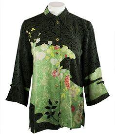 f0b0e95d7f9 Citron Clothing - Flower Dot River, Mandarin Collar Blouse, Asian Inspired,  Vintage Women's