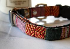 Red Green Mexican Woven Dog Collar -G-