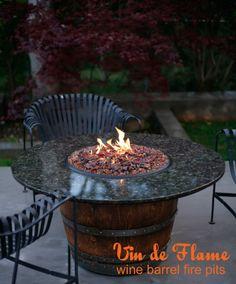 Vin de Flame - Low Wine Barrel Fire Pit Table!