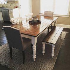 Custom Farmhouse Table/7ft/Turned Legs/Solid By EHopeFurniture