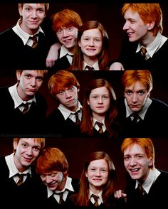 Red hair, hand me down clothes, and a stupid complexion. THEY must be weasleys!