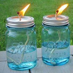 Mason Jar, Candlewick (let soak) and Liquid Citronella.