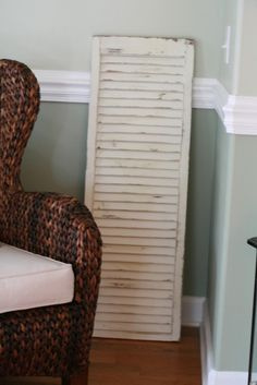 Cream On White Vintage Painted Shutter by mrsfogel on Etsy, $48.00...Great Idea!