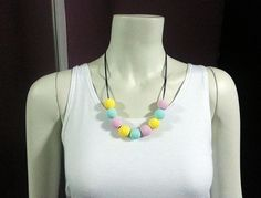 Cotton Candy - Handmade Polymer Clay Beads Necklace (Fimo, Premo, Sculpey) Pink, Tiffany, Yellow