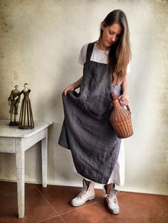 Linen Pinafore Apron, Linen Apron, Long Pinafore Woman, Square-Cross Apron, no-ties apron, Japanese apron, linen smock, Mothers day gift by Linenbeeshop on Etsy https://www.etsy.com/listing/262076406/linen-pinafore-apron-linen-apron-long
