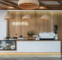 cafe restaurant Nest Pendants by Copper Design at Osten Cafe Restaurant Design, Decoration Restaurant, Deco Restaurant, Design Café, Kiosk Design, Bakery Design, Design Hotel, Bakery Interior, Cafe Interior Design