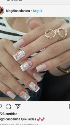 Nails 💅🏻 Love Nails, Pretty Nails, My Nails, Rose Gold Nails, White Nails, Nail Photos, Manicure E Pedicure, Foto Art, Square Nails