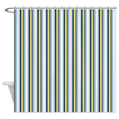 Yellow And Blue Stripes Shower Curtain on CafePress.com