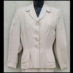 1940s Women's Ecru Tailored Suit Palm Beach Classic