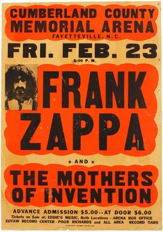 Rare Mini Print/Poster - Size: A4 (Approximately: 21 cm x 29.7 cm) 8.27 inches x 11.7 inches. Cumberland County, Frank Zappa, Box Office, Concert Posters, Poster Prints, Memories, Souvenirs, Remember This, Gig Poster