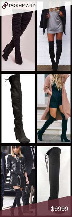 """2 LEFT⭐️Vegan Suede Over the Knee Boots Gorgeous vegan suede over the knee boots! These are insanely soft & so sexy! ⭐️4"""" Heel/From Ankle to Top is 19"""". ⭐️Tie at Top  ⭐️Smooth Vegan Suede ⭐️Can Tighten Tie at Top for perfect snugness  ⭐️Super Soft ⭐️Fitted/ Pull On Style(no zipper) ⭐️A Celebrity Top Trend for Fall 🚫Trades/ PayPal or Mercari *️⃣Price Firm Unless Bundled Shoes Over the Knee Boots"""