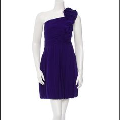 """Robert Rodriguez One-Shoulder Silk Dress Perfect Bridesmaid, graduation or even just a wedding guest dress. Indigo Robert Rodriguez silk one-shoulder dress with ruching at bodice, ruffles at left shoulder, pleating at skirt, bubble hem and zip closure at side. Estimated Retail: $695.00 Condition: Very Good. Light wear to fabric. Measurements: Bust 35"""", Waist 34"""", Hip 42"""", Length 34.5"""" Fabric Content: 100% Silk; Lining 100% Silk Robert Rodriguez Dresses"""