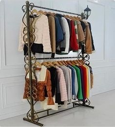 Online Shop , wrought iron clothes rack, display shelf Indoor hanger assembly island shelf More bold frame double wedding dresses Iron Furniture, Steel Furniture, Display Shelves, Shelving, Display Ideas, Regal Display, Wrought Iron Decor, How To Iron Clothes, Hanger Rack