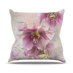 KESS InHouse SC1046AOP03 18 x 18-Inch 'Sylvia Cook Hellabore Pink Petals' Outdoor Throw Cushion - Multi-Colour ** Read more at the image link. #GardenFurniture and Accessories