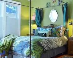 Makes Wonderful Interior Walls with Charming Olive Green Color Palette: Terrific Olive Green Color Palette Bedroom With Bedside Table And White Windows Blinds Charming Olive Green Color Palette Wall Designs ~ pascal-bogui.com Interior Inspiration