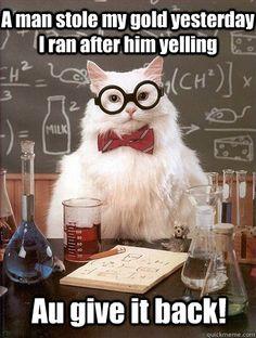 Chemistry Cat: Au, he's golden. HAHAHA