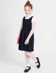 Buy the Girls' Cotton Knitted Pinafore from Marks and Spencer's range. School Uniform Store, School Uniform Outfits, School Dresses, Toddler School Uniforms, Girls Uniforms, Girly Girl Outfits, Cute Outfits, Young Girl Fashion, Kids Fashion