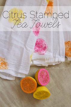 The best DIY projects & DIY ideas and tutorials: sewing, paper craft, DIY. Diy Crafts Ideas DIY Citrus Stamped Tea Towels - Cute for Summer! Summer Crafts For Kids, Kids Crafts, Diy And Crafts, Summer Diy, Simple Crafts, Diy Projects To Try, Sewing Projects, Craft Projects, Craft Ideas
