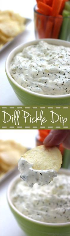 Pickle Dip - Perfect for veggie or chip dipping. Great for holiday parties, game day entertaining, and summer picnics.Dill Pickle Dip - Perfect for veggie or chip dipping. Great for holiday parties, game day entertaining, and summer picnics. Appetizer Recipes, Snack Recipes, Appetizers, Cooking Recipes, Chip Dip Recipes, Cake Recipes, Dill Recipes, Dill Pickle Dip, Dill Dip