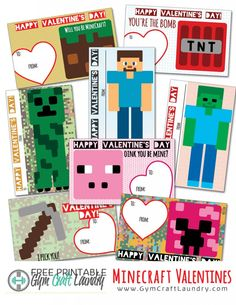 Printable Minecraft Valentines that the whole class will love.