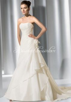 A-Line Strapless Floor Length Attached Organza Wedding Dress Style WD0541 [WD0541] - Discountdressinlove.com a line wedding dresses  wedding party dresses -  beach wedding dresses,  pakistani wedding dresses,  wedding dresses 2013