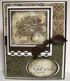 Stamp Sets: Lovely As A Tree & Medallion Background stamp.  Colors: Crumb Cake, Always Artichoke, Early Espresso & Whisper White. Vintage Wallpaper EF, Scallop Trim Border Punch and Early Espresso Ribbon.