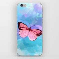 Pink butterfly watercolor painting by Sylph Designs (artist Kaisa Holsting)…