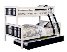 CM-BK625TF-BL Corrin collection Twin over Full blue and white finish wood bunk bed with twin trundle pull out