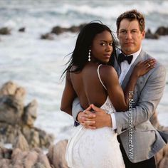 Dana and Jeff  ❤️ Glamorous interracial couple wedding photography by the ocean #love #wmbw #bwwm