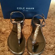 Cole Haan Effie jewel sandal in ch gun metal Worn once. Excellent condition. Cole Haan Shoes Sandals