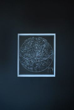 The constellations print is striking in its simplicity and design. Bold black ink contrasting crisp white paper make it eye catching. Print is singed in pencil by the printer on the lower right corner. This chart is part of a series of astronomy charts. Measures: 24 x 28    ** We also offer this piece mounted and ready to hang for a mounting charge--see our other posters in our store.