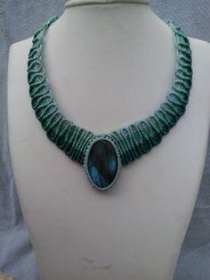 Macrame necklace turquoise blue labradorite gem by ARTofCecilia