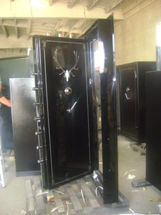 Black high gloss panic room door