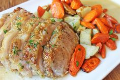 Brown Sugar Garlic Pork with Carrots & Potatoes - Just 6 ingredients and less than an hour are all that separate you from this awesome caramelized Brown Sugar Garlic Pork and roasted vegetables. Pork Recipes, Cooking Recipes, Healthy Recipes, Dinner Dishes, Dinner Recipes, Lunch Recipes, Main Dishes, Fodmap, Potato Dinner