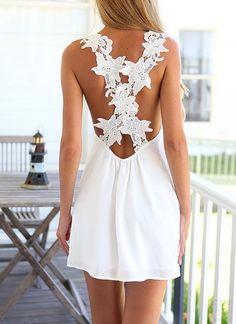 Minikleid mit Häkelspitze Träger am Rücken-weiß